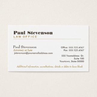 Abogado en la tarjeta de visita superior de la ley