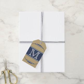 ABOTONE ALREDEDOR de gris beige azul de las rayas Etiquetas Para Regalos