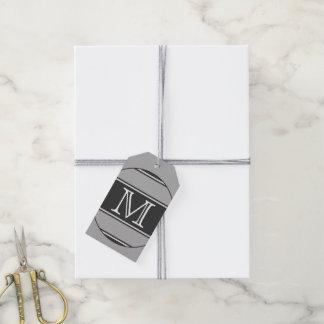 ABOTONE ALREDEDOR de rayas gris + su texto Etiquetas Para Regalos