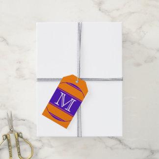 ABOTONE ALREDEDOR de violeta anaranjada de las Etiquetas Para Regalos