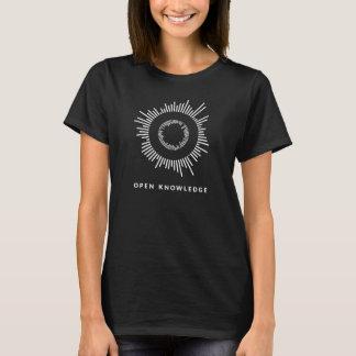 Abra el conocimiento, negro, para mujer camiseta