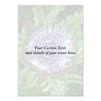 Abra la flor de la alcachofa. Púrpura Invitación 12,7 X 17,8 Cm