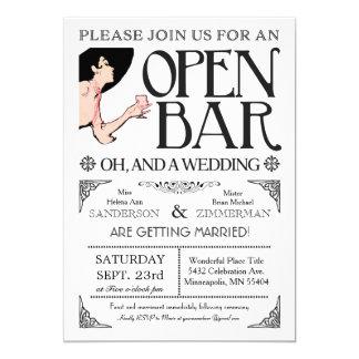 Abra las invitaciones de la barra y de un boda invitación 12,7 x 17,8 cm