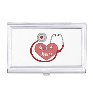 Abrace a una enfermera cajas de tarjetas de presentación