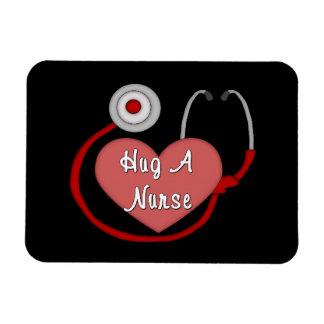 Abrace a una enfermera imán foto rectangular