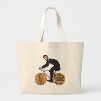 Abraham Lincoln en una bici con el penique rueda Bolso De Tela Gigante