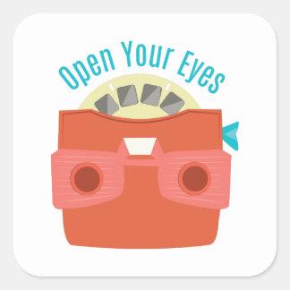 Ábrase los ojos calcomania cuadradas personalizada