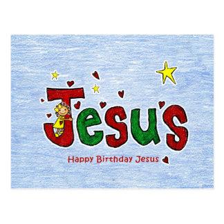 Abrazo del cumpleaños de Jesús para el navidad Postal
