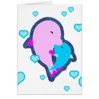 Abrazo del delfín de la madre y del niño, masopa, tarjeta de felicitación