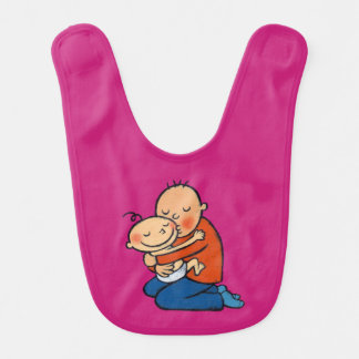 Abrazo del papá y del bebé baberos de bebé