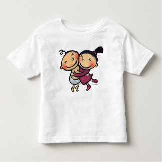 Abrazo ilustrado lindo de los niños camisas