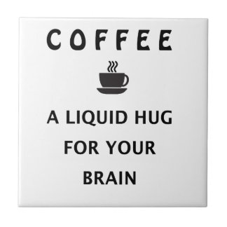 Abrazo líquido del café para su cerebro azulejo