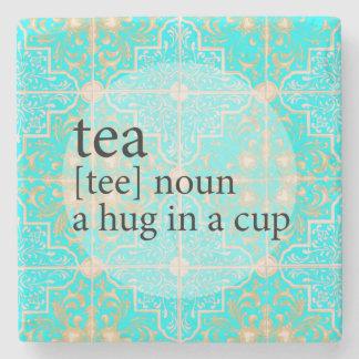 Abrazo marroquí azul del tiempo del té de la teja posavasos de piedra