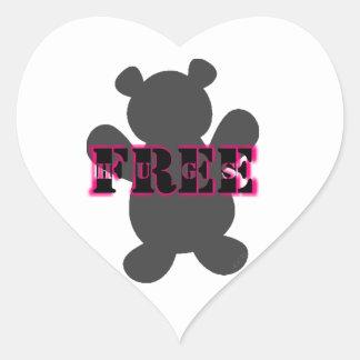 Abrazos de oso libres pegatina en forma de corazón
