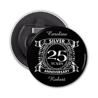 Abrebotellas 25to escudo de la plata del aniversario de boda
