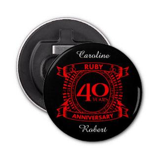 Abrebotellas 40.o escudo del rubí del aniversario de boda