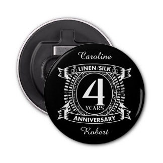 Abrebotellas 4to escudo apenado del aniversario de boda