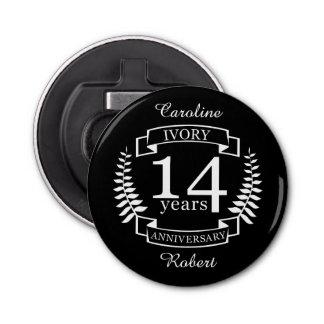 Abrebotellas Aniversario de boda de marfil 14 años