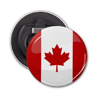 Abrebotellas Bandera canadiense redonda brillante