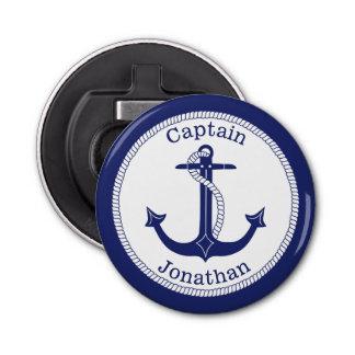 Abrebotellas Capitán náutico Personalized de los azules marinos