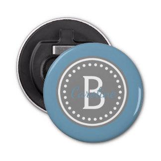 Abrebotellas Carolina azul y monograma gris del lunar de la