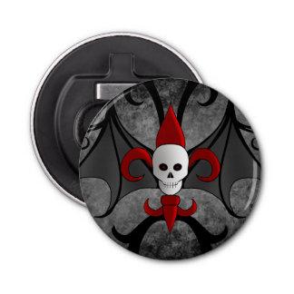 Abrebotellas Cráneo de Halloween y flor de lis roja