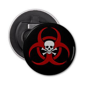 Abrebotellas Cráneo rojo y bandera pirata del Biohazard