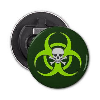 Abrebotellas Cráneo verde y bandera pirata del Biohazard