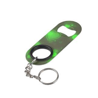 Abrebotellas De Llavero Corazones verdes de neón de la burbuja del