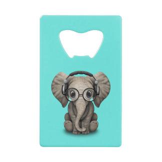 Abrebotellas De Tarjeta De Crédito Auriculares que llevan y vidrio de DJ del elefante