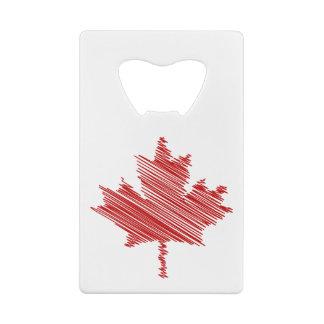 Abrebotellas De Tarjeta De Crédito Bandera roja y blanca de la hoja de arce del día