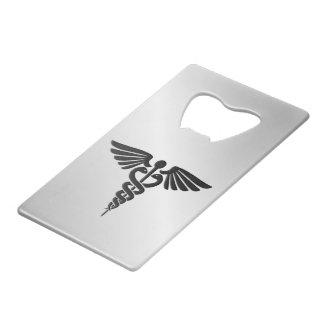 Abrebotellas De Tarjeta De Crédito Caduceo médico de plata