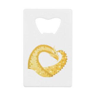 Abrebotellas De Tarjeta De Crédito Dragón amarillo del corazón en blanco
