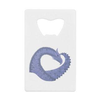 Abrebotellas De Tarjeta De Crédito dragón Azul-gris del corazón en blanco