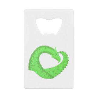 Abrebotellas De Tarjeta De Crédito Dragón del corazón de la verde lima en blanco