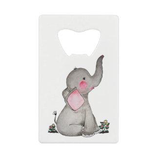 Abrebotellas De Tarjeta De Crédito El elefante lindo del bebé de la acuarela con se