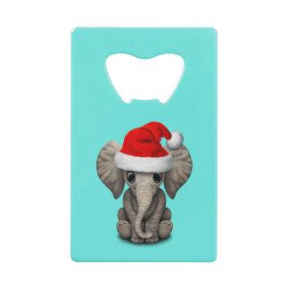 Abrebotellas De Tarjeta De Crédito Elefante del bebé que lleva un gorra de Santa