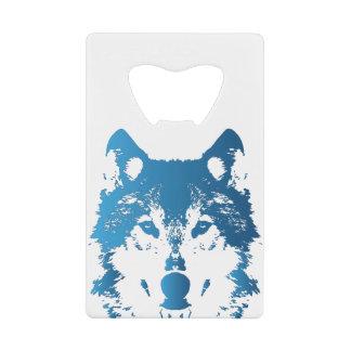 Abrebotellas De Tarjeta De Crédito Lobo de los azules claros del ilustracion