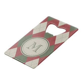 Abrebotellas De Tarjeta De Crédito Modelo verde y rojo de la tela escocesa de Argyle