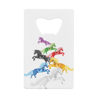 Abrebotellas De Tarjeta De Crédito Unicornios salvajes coloridos del ejemplo