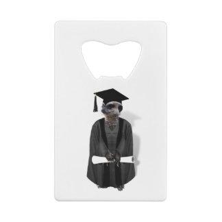 Abrebotellas De Tarjeta De Crédito Vestido graduado de Meerkat W/Grey y marco negro