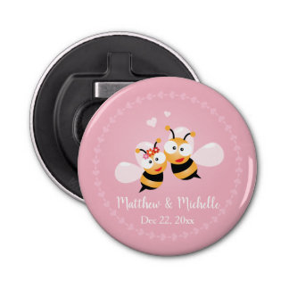 Abrebotellas El boda lindo del rosa de los pares de la abeja de