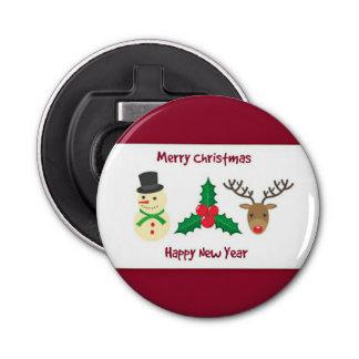 Abrebotellas Felices Navidad rojas y blancas y Feliz Año Nuevo