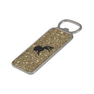 Abrebotellas Magnético unicornio chispeante de oro