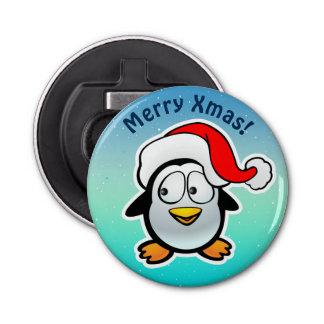 Abrebotellas Pingüino lindo con el dibujo animado del gorra del