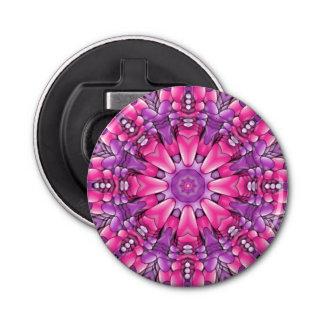 Abrebotellas púrpuras rosados del caleidoscopio   abrebotellas redondo