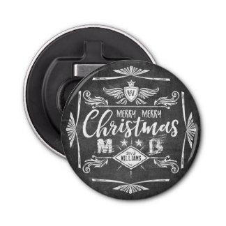 Abrebotellas Tipografía retra de las Felices Navidad de la