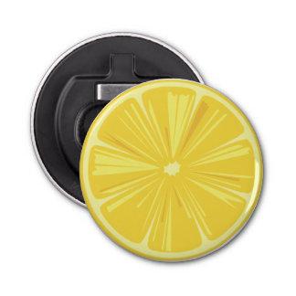 Abrebotellas Una rebanada de limón amarillo