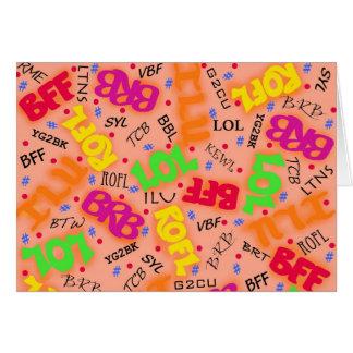 Abreviaturas anaranjadas de los símbolos del arte tarjeta de felicitación