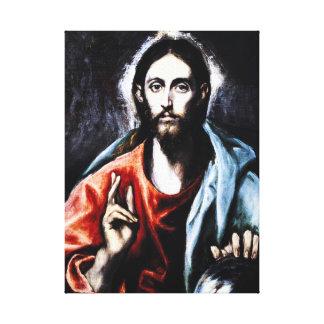 Abrigo de la lona de la bendición de El Greco Cris Impresión En Lienzo Estirada